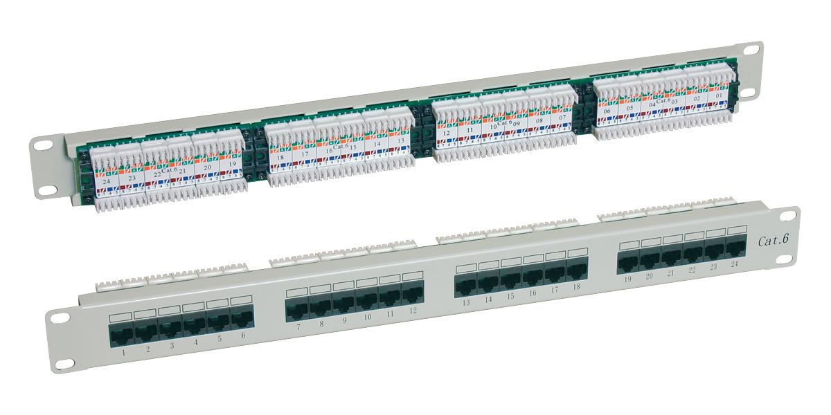 "Patch panel UTP 19"" x 1 U, kat. 6, 24 portů, RAL 7035"