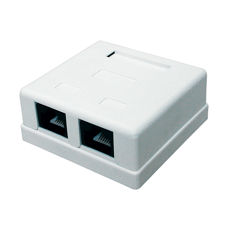 Kompaktní zásuvka na omítku 2 x RJ45 UTP, kat. 5e