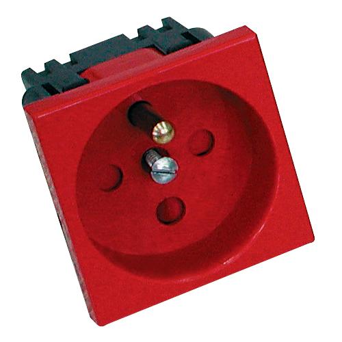 Modulární elektrická zásuvka Mosaic 45 s dětskou pojistkou, jednoduchá, 45x45 mm, červená