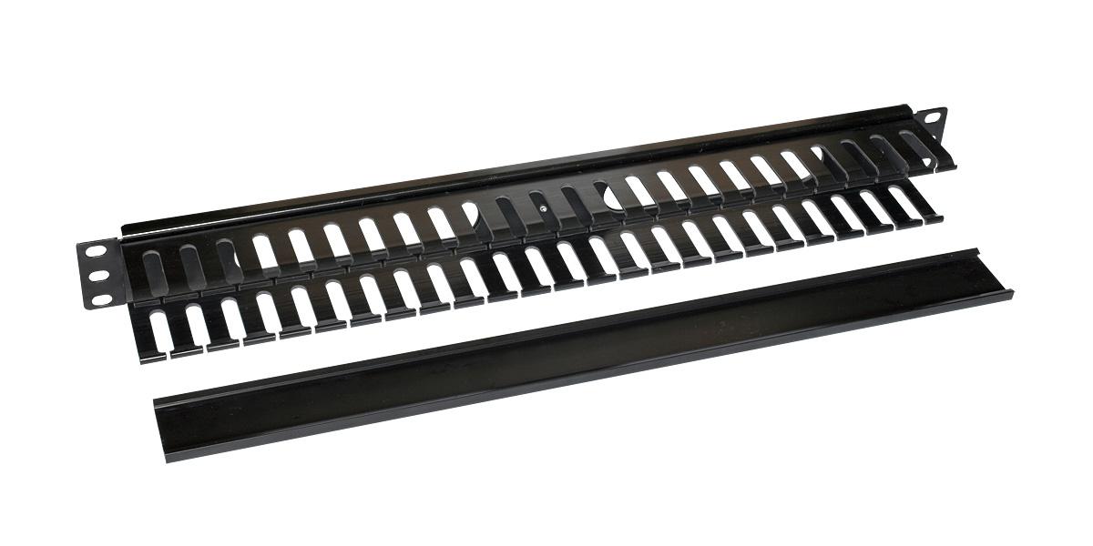 """Vyvazovací panel 19"""" x 1 U splastovou lištou, RAL9005"""