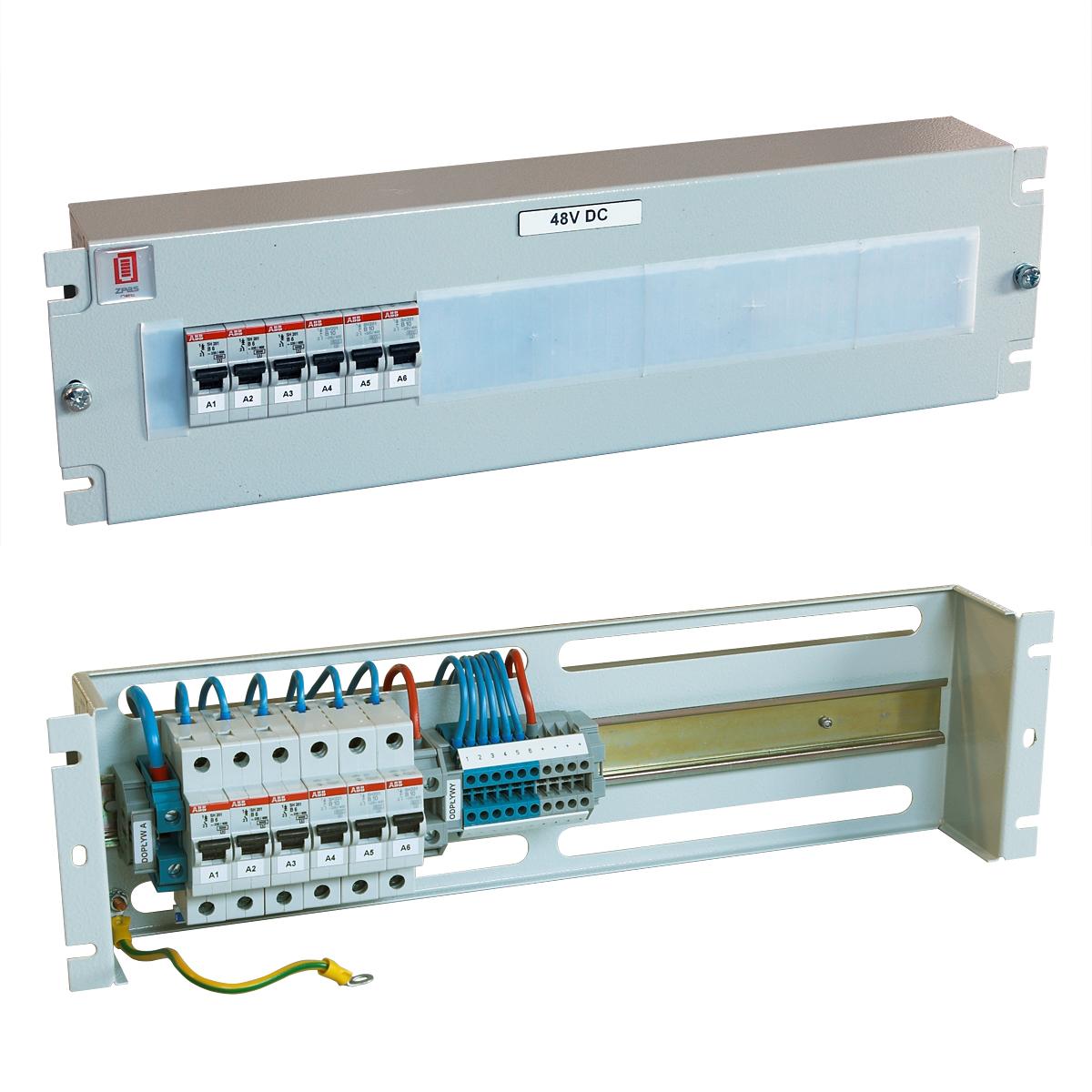 Jističový panel 48 V DC, 3x6 A, 3x10 A