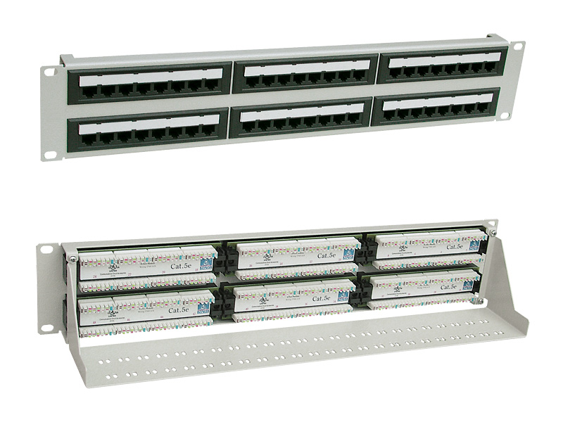 "Patch panel UTP, 19"" x 2 U, kat. 5e, 48 portů RJ45"
