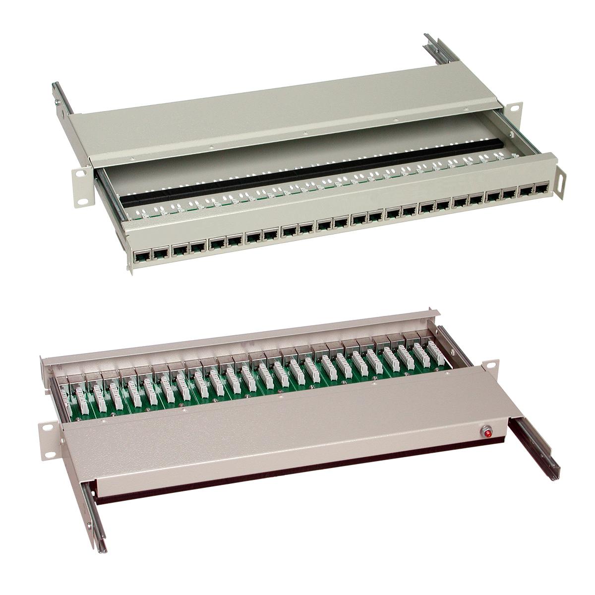 """Patch panel STP, 19"""" x 1 U, kat. 5e, 24 portů RJ45, výsuvný"""