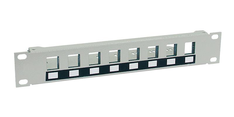 """Patch panel pro keystony, 10"""" x 1 U, 8 portů"""