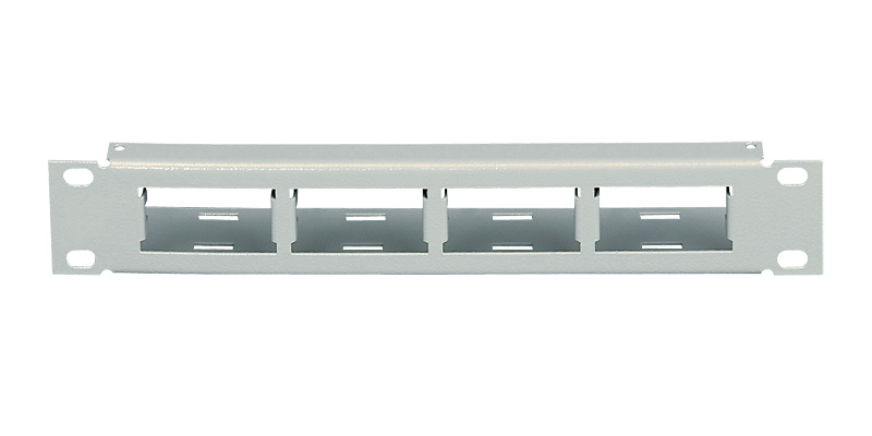 "Patch panel 10"" x 1 U, 4 porty 25 x 50 mm"